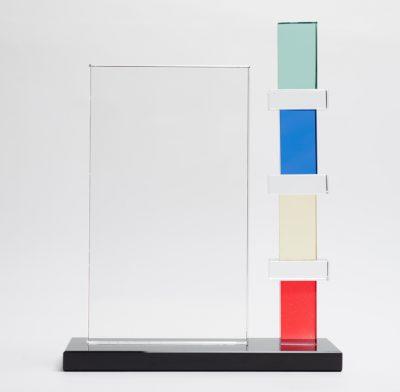 trophée verre carré couleur