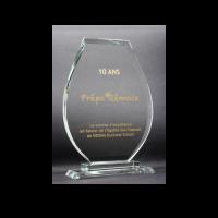 trophée verre gravé et remplissage or