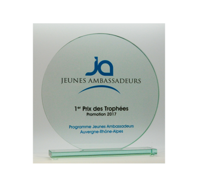 trophée verre rond impression couleur 20 cm