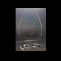 trophée verre bords biseautés et impression couleur