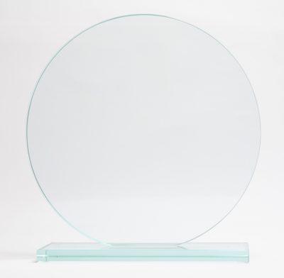 trophée rond en verre avec socle