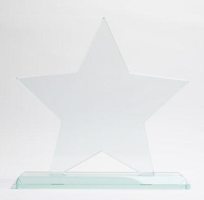 trophée étoile en verre avec socle