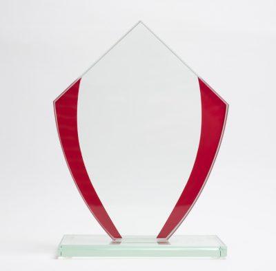 trophée verre bords rouge