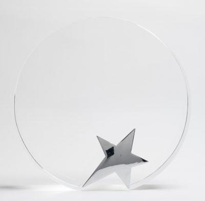 trophée verre optique rond étoile argenté sans socle