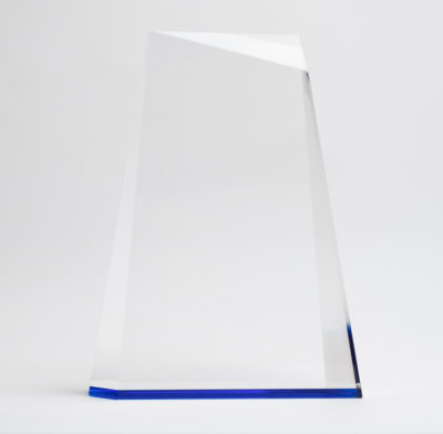 trophée verre optique ligne bleu cobalt sans socle