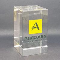 trophée cube verre couleur 8 cm