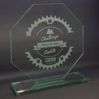 trophée en verre octogonal gravé 20 cm