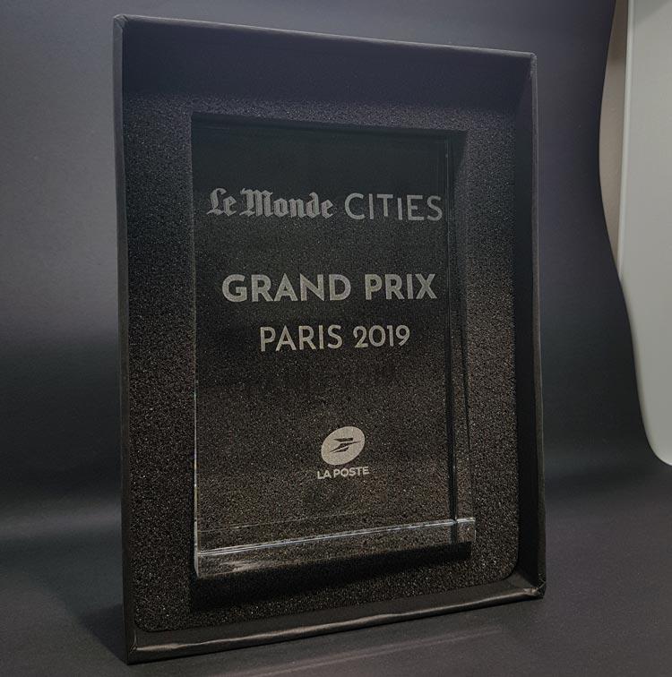 trophée trapèze verre optique awards le monde cities