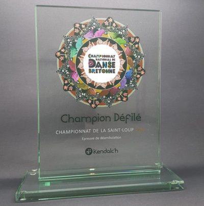 trophée en verre rectangle impression couleur 20 cm