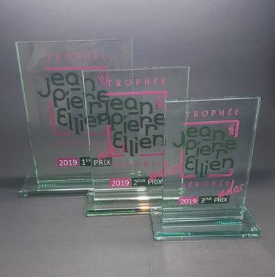 trophée verre rectangle couleur 1er prix 2ème prix et 3ème prix