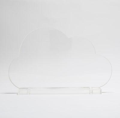 trophée plexiglass nuage avec socle gravé ou imprimé en couleur