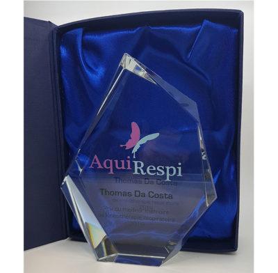 trophée haut de gamme cristal optique avec impression couleur