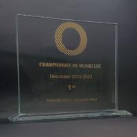trophée verre horizontal gravure laser et or