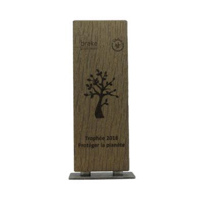 trophée chêne et socle métal avec gravure laser sur bois