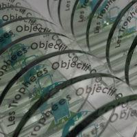 trophée rond en verre et impression couleur