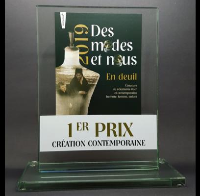 trophée verre rectangle personnalisé avec impression couleur avec socle