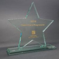 trophée verre étoile gravé et remplissage couleur or