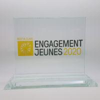 trophée verre horizontal avec socle biseauté et impression couleur