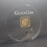 trophée verre cristal avec étoile argent gravé et remplissage or