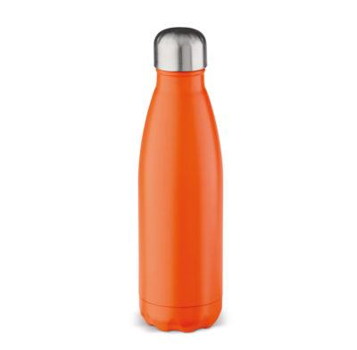 bouteille isotherme orange gravée au laser d'un message ou d'une photo
