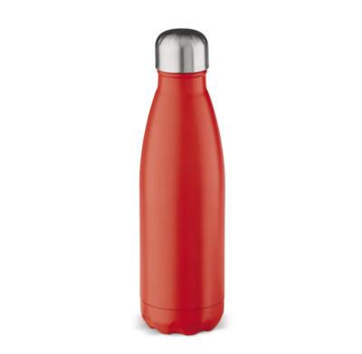 bouteille isotherme rouge gravée d'un texte et d'un logo