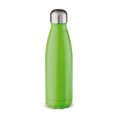bouteille isotherme vert gravée au laser d'un texte ou d'un logo