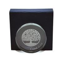 médaille verre arbre de vie gravée 10 cm